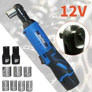 3 8 Cordless Electric Ratchet Right Angle Wrench Impact Power Tool W 7 Socket