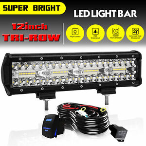 12 Inch Led Work Light Bar Combo Spot Flood Driving Off Road Suv Boat Atv Wire