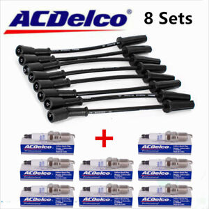 8x 9748uu Wires Acdelco 41 110 Spark Plugs Set For Chevy Gmc 4 8l 5 3l 6 0l