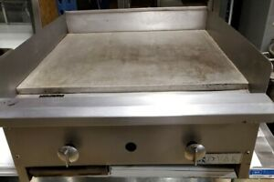 24 Griddle Grill Natural Gas Char broiler 2 Manual Controls Burners Tech tested