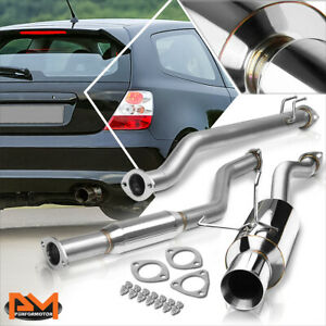 For 02 05 Honda Civic Si Ep3 K20a 4 Rolled Tip Muffler Racing Catback Exhaust