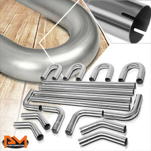 Stainless Steel 4xstraight 45 90 Degree U bend 16pcs 2 5 od Exhaust Pipe Kit