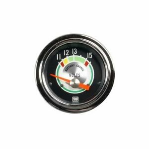 Stewart Warner Green Line Electrical Voltmeter Gauge 2 1 16 Dia Black Face 375t