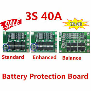 12 6v 18650 Lithium Battery Pcb Bms Protection Board 40a For Drill 3s Motor Hot