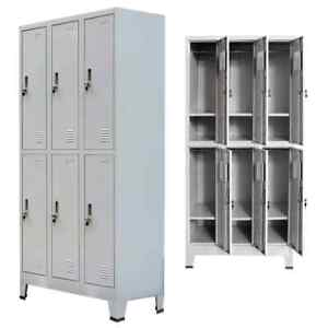 Us Locker Cabinet With 6 Compartment Office Gym Sports Changing Container