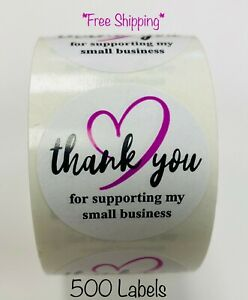 500 Purple Black Thank You For Supporting My Small Business Mailing Label
