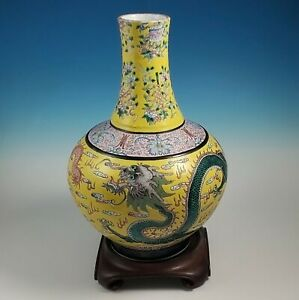 Large Chinese Imperial Qianlong Bottle Vase Fencai Dragon Yellow Famille Rose