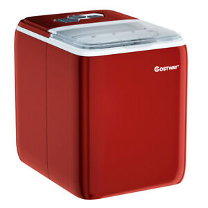 44 Lbs Portable Countertop Ice Maker Machine With Scoop red Color Red
