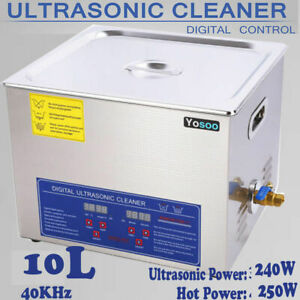 Stainless Steel 10l Liter Industry Heated Ultrasonic Cleaner Heater W Timer Usa