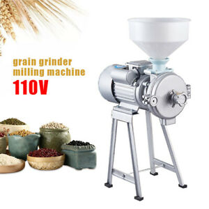 2 2kw Electric Grinder Machine Corn Grain Wheat Cereal Feed Wet Dry Mill funnel