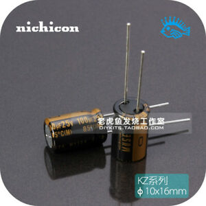 100uf 25v Kz Muse Series Nichicon Fever Audio Electrolytic Capacitor 10x16mm