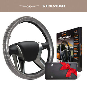 Senator Steering Wheel Cover Kan04 15 Gray Leather Pu Universal Fit With Grip