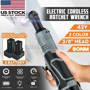 42v 3 8 Cordless Electric Ratchet Right Angle Wrench Impact Power Tool Battery