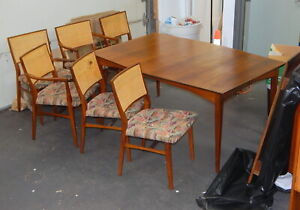 Mcm Mid Century Modern Walnut Surfboard Dining Room Table 6 Caned Chairs Eames