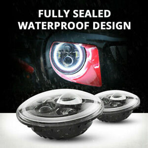 2 X 7 Inch Round Led Headlights Halo Drl Angle Eyes Turn Signal Light For Jeep