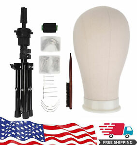 22 Canvas Head Block Mannequin For Wig Making Display W tripod Stand Mount Hole