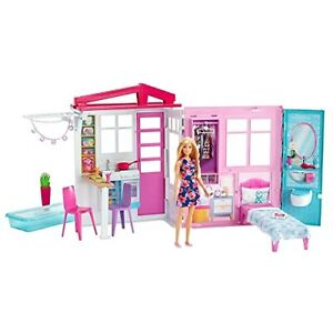 Doll And Dollhouse Portable 1 story Playset With Pool And Accessories For 3
