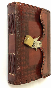 Leather Journal Writing Notebook Planner Daily Notepad Bound Diary Lock And Key