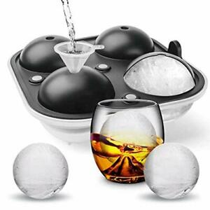 4 Ice Balls Maker Round Sphere Tray Mold Cube Whiskey Ball Silicone Water Funnel