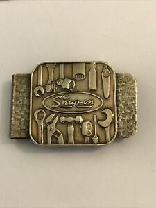 Snap on Tools Vintage Brass Money Clip Embossed Tools Logo Snap On