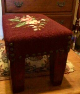 Vintage Antique Wood Needlepoint Embodied Flower Foot Stool Rest Small Bench