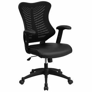 High Back Designer Black Mesh Executive Swivel Chair Leather Seat And Adjustable