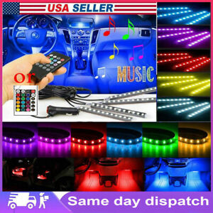 4in1 Led Rgb Car Interior Atmosphere Light Strip Bluetooth App Music Control New