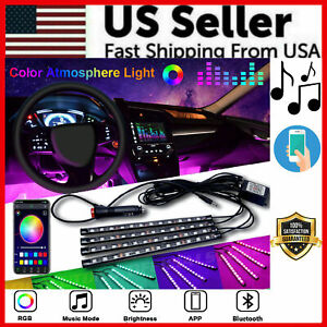 4x 8color Rgb 36 Led Strip Under Car Tube Underglow Underbody System Light Kit