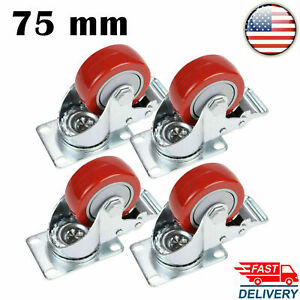 New 4 Heavy Duty Caster Set 4 Wheels With Brake Stem Casters 880lbs double