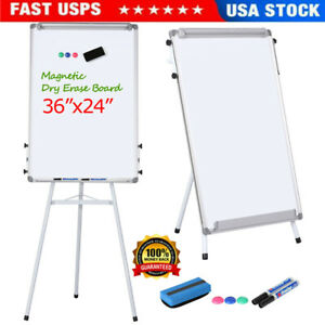 24 x36 Magnetic Dry Erase White Board W Tripod Flipchart Stand Office Home Us