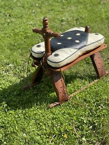 Antique Wood Camel Bench Foot Stool Leather Saddle Rocker Brass Stud Accents