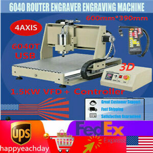 Usb 4 Axis Cnc 6040 Router Engraver Carving Milling Machine 1 5kw Vfd controller