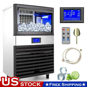 155lbs 24h Commercial Ice Maker Ice Cube Making Machine Auto Lcd Control