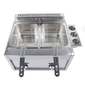6l 2 Dual Tanks Gas Countertop Deep Fryer Commercial Stainless Steel W 2 Basket