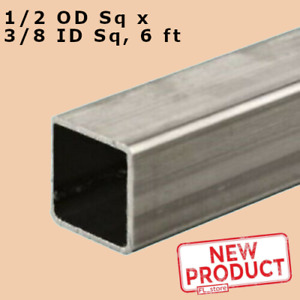 Stainless Steel Hollow Square Tube 3 8 I d X 1 2 O d X 6 Ft Long 065 Wall