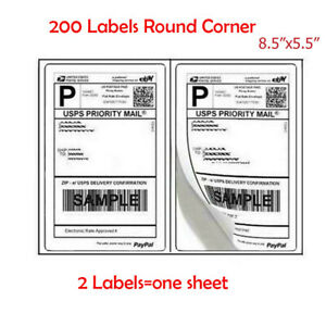 200 Pack Premium Shipping Labels Half Sheet 8 5x5 5 Self Adhesive Rounded Corner