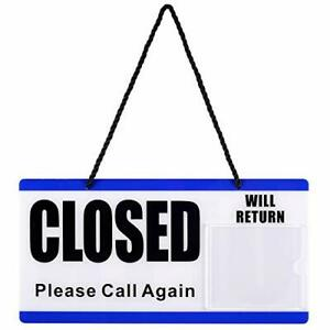 Open And Closed Sign For Business Door Plastic Double Sided With Rope For