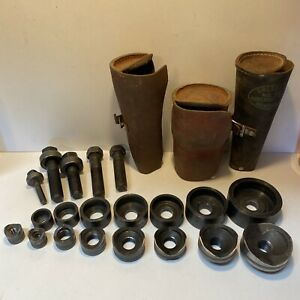Vtg Greenlee No 735 Knockout Punch Die Set 1 2 2 With Leather Rolls