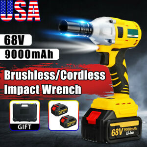 68v Cordless Impact Wrench 1 2 Brushless Electric Wrench Driver With 2 Battery