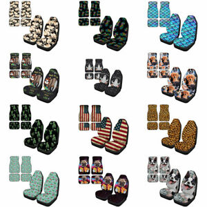 Fashion Printed Front Back Floor Mats Car Seat Covers 6pcs Set Auto Accessory