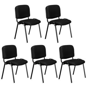 Reception Stacking Chair Steel Frame For Guest Home Office Conference Set Of 5