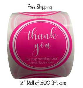 500 2 Hot Pink Thank You For Supporting Our Small Business Mailing Labels