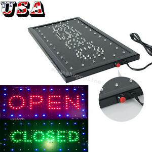 Bright Led Flash Neon 2in1 Open Close Store Shop Business Sign Display Light