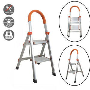 Protable 2 Steps Ladder Folding Non Slip Safety Heavy Duty Industrial Home