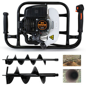 52cc 2 4hp Gas Powered Post Hole Digger W Earth Auger Drill Bit 6 10 Digger