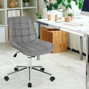 Costway Mid Back Armless Office Chair Adjustable Swivel Fabric Task Desk Chair