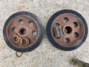 Pair Antique Cast Iron Hit Miss Gas Engine Cart Wheels 8 x 2 With Bearings