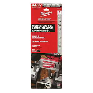 Milwaukee 48 39 0601 44 7 8 In 8 10 Tpi Metal Bandsaw Blades 3 pack New