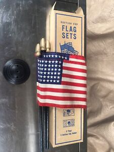 Rare Nos Vintage Suction Cup 3 Flag Holder 48 Star Flags