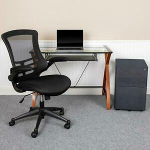 Work From Home Kit Glass Desk With Keyboard Tray Ergonomic Mesh Office Chair